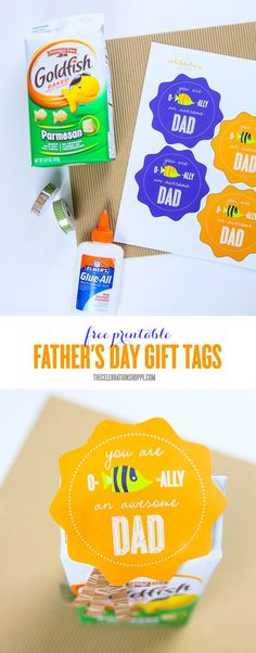 Wrap dad's Father's Day gift with this fun O-Fish-Ally gift tag! Visit The Celebration Shoppe for more Father's Day crafts! Fathers Day Crafts, Happy Fathers Day, Free Printable Gift Tags, Free Printables, O Fish Ally, Father's Day Diy, Shaped Cards, Do It Yourself Crafts, Best Dad