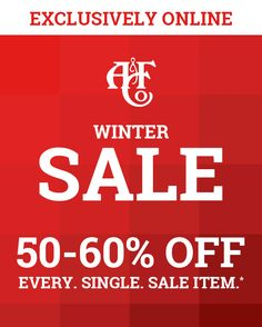 ALL Sale 50-60% off!    Bundle up with coats hoodies and jeans!  view on web browser  This email is not endorsed or sponsored by any third-party social media sites. All social media logos and trademarks displayed in this email are property of their respective owners.  To ensure delivery to your inbox add Abercrombie@e.abercrombie.com to your address book.  This is a product offering from Abercrombie & Fitch. You have received this email since you submitted your email address to our list of…