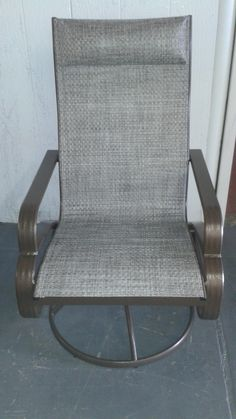 Repaired Sling And Powder Coated Swivel Chair Furniture Repairswivel Chair Upholsterypowderpatio