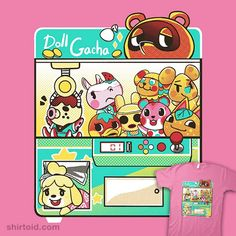 Gacha Crossing | Shirtoid #animalcrossing #coinboxtees #gachagame #gaming #isabelle #tomnook #videogame
