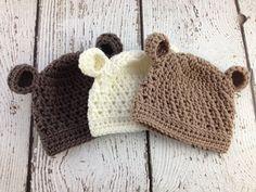Bear Crochet Hat, Baby Hat, Newborn, Photoshoot, Shower Gift, Baby Girl Hat, Baby Boy Hat on Etsy, $13.77