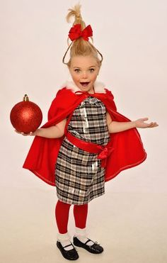 Cindy Lou Who - red tights, white socks, black shoes, red coat, who-up-do : yeah, I can do that! (Sadie)