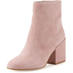 Sam Edelman Taye Suede Chunky-Heel Bootie ($170) ❤ liked on Polyvore featuring shoes, boots, ankle booties, heels, ankle boots, pink mauve, suede ankle boots, suede booties, high heel booties and short heel boots