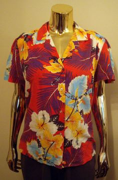 Items similar to Tropical Shirt with Large Hawaiian Flowers on Etsy 4ccadc58c
