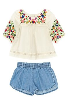 Peek Embroidered Peasant Top & Shorts (Baby Girls) available at #Nordstrom