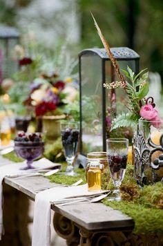 bohemian moss wedding table decor ideas