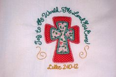 Joy to the World cross applique on flour sack towel by jessiemae
