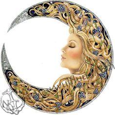 Wiccan Goddess Maiden ۞ Whispering Worlds Sun Moon Stars, My Sun And Stars, Tattoo Mond, Photo Portrait, Moon Magic, Beautiful Moon, Moon Goddess, Moon Art, Whimsical Art