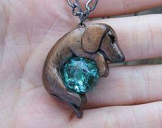 Dachshund Necklace Custom Polymer Clay Wiener Dog Handmade $25.00