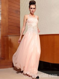 【Everytide.com Long Homecoming Dress】Wholesale Net Top with Beading Lace  Pink Prom Dresses