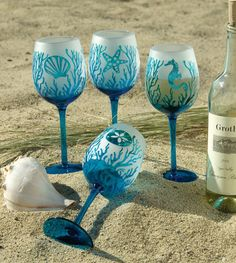 Coastal Hand Painted Wine Glasses | etched turquoise wine glasses 8 inch oyster aqua glass serving