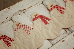 (7) Name: 'Quilting : Snowman Table Runner