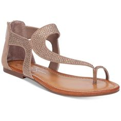 Jessica Simpson Kaarna Toe-Loop Flat Sandals ($52) ❤ liked on Polyvore featuring shoes, sandals, totally taupe, gladiator sandals, t strap gladiator sandals, t-strap flat sandals, flat gladiator sandals and taupe shoes