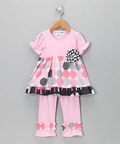 Take a look at this Pink Modern Polka Dot Tunic & Leggings - Girls by Heather Hill on #zulily today!