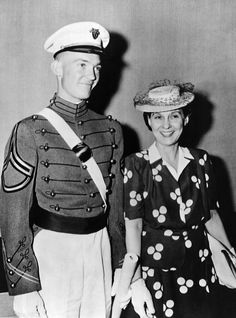 Mrs. Dwight D. Eisenhower smiles proudly with 22 year old son John after he graduated from West Point on June 6, 1944. On the same day, John's father was overseeing the D-Day landings on Normandy Beaches. (CSU_ALPHA_216) CSU Archives/Everett Collection