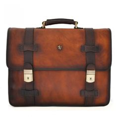 Brown Pratesi Vallombrosa men leather briefcase with laptop compartment Handmade Italy