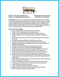 Job description, Bartenders and Resume on Pinterest