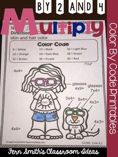 Multiply with 2 and 4 - Color Your Answers Printables for 3.OA.A.1 with a cute Kids and Cupcake Theme  Use them for your math center, small group, RTI pull out, seat work or homework. #TPT $Paid