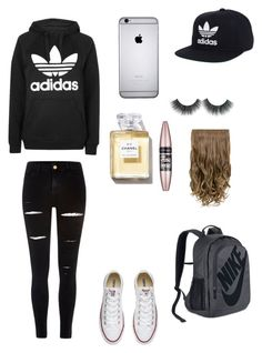 """Untitled #129"" by anneliese10 on Polyvore featuring River Island, Topshop, Converse, adidas, Maybelline and NIKE"
