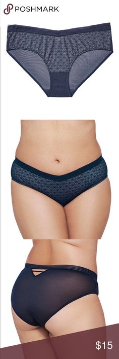 Ashley Graham High Cut V Front Panty It's all in the details with this plus size panty from the Ashley Graham collection. High Cut, V-shape waistline, geometric lace front, mesh back. Complete the look with matching bra. Still in original plastic packaging--never tried on as the bra did not fit.   🔸lace: 86% nylon, 14% elastane; back/front lining: 85% nylon, 15% elastane Ashley Graham Intimates & Sleepwear Panties