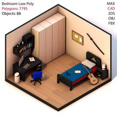 New vector games art low poly ideas Bedroom Games, Bedroom Setup, Bedroom Bed, Isometric Art, Isometric Design, Small Game Rooms, Gaming Room Setup, Game Room Design, Gamer Room