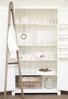 In my next life I will have slightly distressed white shelves, with little on them, beautifully lit.