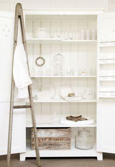 creamy white on white interior design kitchen pantry