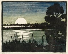 View Marsh Moon (Circa By William S. woodcut in colors on rice paper; Access more artwork lots and estimated & realized auction prices on MutualArt. Linocut Prints, Art Prints, Block Prints, Nostalgic Art, Art For Art Sake, Arts And Crafts Movement, Wood Engraving, Gravure, Woodblock Print
