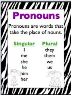 Pronouns (Singular, Plural, Possessive, Subject, Object)