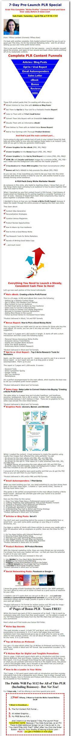 7 Day Pre Launch Niche Funnel Riches PLR Bundle - One Trade Store http://jvz7.com/c/98971/95565