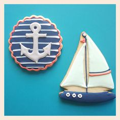 Sailboat and Anchor sugar cookies - ajc patisserie