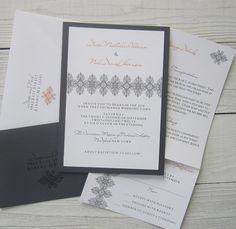 Grey and Orange Wedding Invitation  Modern by RiverCityStudio, $5.50