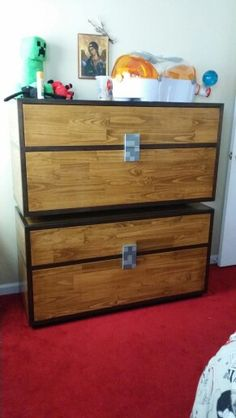 Minecraft dresser: this can be painted onto an existing dresser to make it look…