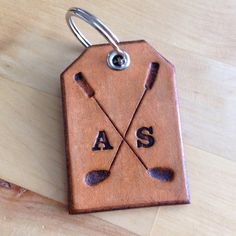 Leather Golf Keychain Key Ring Key Fob Gifts by LoveThatLeather