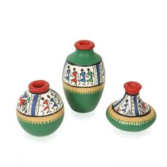 ExclusiveLane Terracotta Warli Hand Painted Pots Green Set Of 3 Pottery Painting Designs, Pottery Designs, Paint Designs, Pottery Art, Bottle Painting, Bottle Art, Bottle Crafts, Large Terracotta Pots, Home Decor Items Online