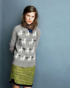 J.Crew jeweled Llama sweater, shirttale mini skirt in piped tweed.