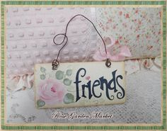 Friends Hand Painted Wood Tag with Hand by CelestinaMarieDesign