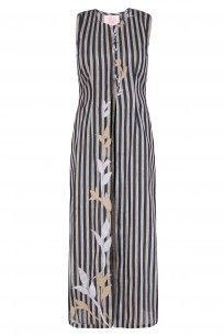 Black Floral Applique Work Striped Sleeveless Tunic #black #floral #appliquework #stripedsleevelesstunic #perniaspopupshop #shopnow