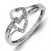Sterling Silver Diamond Double Heart Ring - Promise Ring