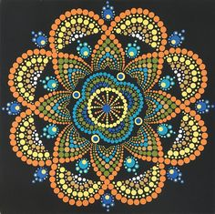 Dot Mandala 12x12 inch, acrylic on canvas.