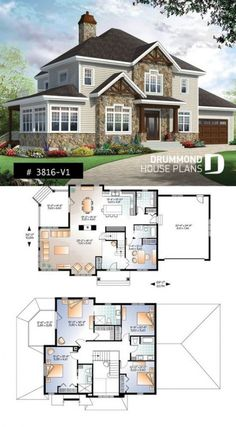 Two master suites Craftsman House Plan, 4 bedrooms, 4 bathrooms, home office, s . - Furnishing ideas Two Master Suites Craftsman House Plan 4 Bedrooms 4 Baths Home Office S Sims 4 House Plans, Dream House Plans, Modern House Plans, Small House Plans, House Floor Plans, Dream Houses, Modern Houses, Sims 4 Houses Layout, House Layouts