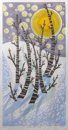 'Snow Birches' by Angie Lewin (linocut)