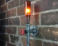 Cerveza botella aplique Iluminación por newwineoldbottles en Etsy