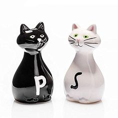 Salt and Pepper Shakers Salt Pepper Shakers, Salt And Pepper, Crazy Cat Lady, Crazy Cats, Funky Decor, White Cats, Vintage Cat, Cat Design, Gadget