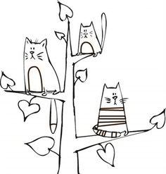 3 Cats in Tree Cat Doodle, Doodle Art Drawing, Cat Drawing, Line Drawing, Coloring Books, Coloring Pages, Bordado Popular, Mini Canvas Art, Cat Cards