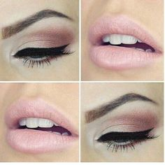 Very light pink lip + a sparkly light merlot and white-silver shimmer eye shadow.