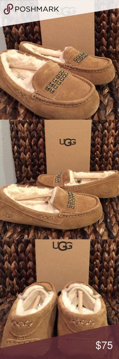 UGG Swarovski Chestnut Ansley Moccasins The Ansley Deco Studs slipper from UGG® offers the ultimate in luxury and comfort.  PRODUCT INFORMATION: Suede upper features heat embossed UGG logo for added appeal. Luxuriously lined with UGGpure™ wool for a breathable and warm environment. Eye catching top stud accent. Generously cushioned footbed is lined in UGGpure™ wool. Molded gum rubber outsole is perfect for indoor or outdoor use. UGG Shoes Moccasins