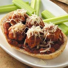 Open-Faced Meatball Sandwiches - under 300 calories lo-carb
