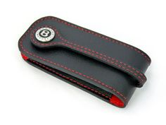 Ettinger Leather Key Case Black/Red | Luxury Gifts | Small Leather Goods
