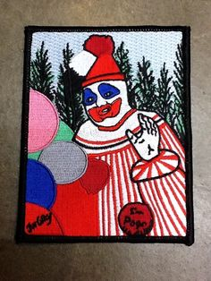 JOHN WAYNE GACY: Pogo the Clown Embroidered Patch http://www.museumofdeath.net/product/pogo-the-clown-embroidered-patch + http://www.screamformeinc.com/products/john-wayne-gacy-pogo-the-clown-patch